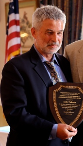 Andy Thibault accepts the 2014 Stephen A. Collins Award from the Connecticut Council on Freedom of Information.